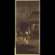 Takahashi Shotei - Night Rain at Asagaya - Japanese Woodblock Print