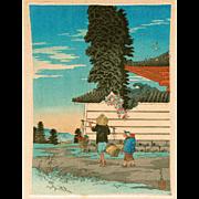 Takahashi Shotei  - Vegetable Peddler at Tomitori - Japanese Woodblock Print