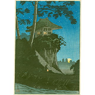 Takahashi Shotei - Moonrise at Tokumochi - Japanese Woodblock Print