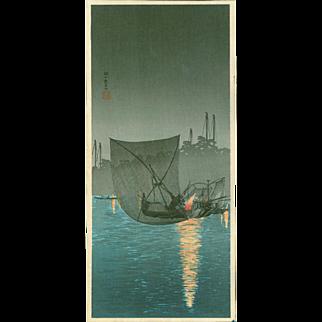 Takahashi Shotei - Fishing at Tsukudajima - Japanese Woodblock Print