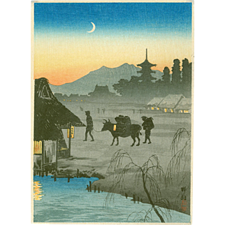Takahashi Shotei  - Returning Home, Evening - Japanese Woodblock Print