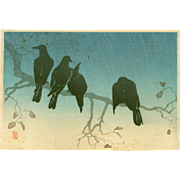 Takahashi Shotei - Crows on a Cold Night - Japanese Woodblock Print