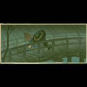 Takahashi Shotei  - Night Shower Izumi Bridge - Japanese Woodblock Print