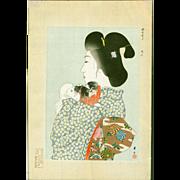 Yamamoto Shoun - Bijin and Japanese Chin Woodblock Print  - Rare