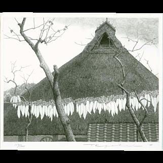 Ryohei Tanaka - Roof and Radishes Ltd. Ed. 1978 Japanese Etching