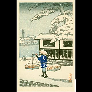 Tomoe - Peddler in Snow - Japanese Woodblock Print