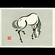 Urushibara Mokuchu (Yoshijiro) - Horse 2 - Japanese Woodblock Print