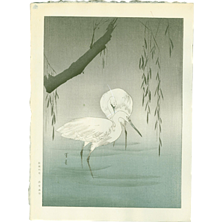 Watanabe Seitei - Egrets By a Willow - Japanese Woodblock Print