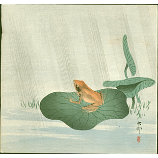 Ohara Koson - Frog on Lotus Leaf - Japanese Woodblock Print
