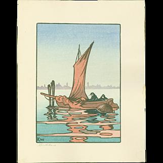Andrew Kay Womrath and Yoshijiro Urushibara - Fishing Boat - Japanese Woodblock Print