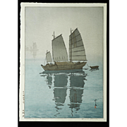 Hiroshi Yoshida - Sailing Boats, Mist - Japanese Woodblock Print