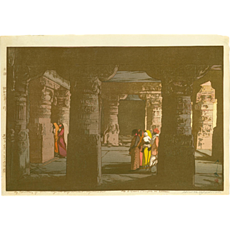 Hiroshi Yoshida Japanese Woodblock Print - No. 3 Cave Temple in Ellora - Jizuri