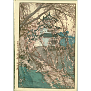 Hiroshi Yoshida - Hirosaki Castle - Japanese Woodblock Print - Jizuri seal