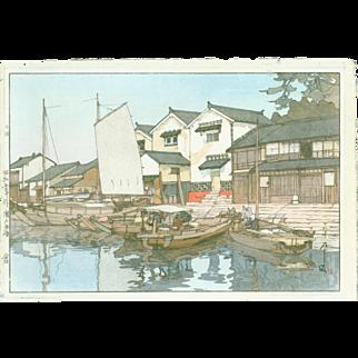 Hiroshi Yoshida - Kura in Tomonoura - Japanese Woodblock Print - Jizuri