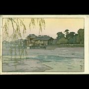 Hiroshi Yoshida Japanese Woodblock Print - The Kamo River - Jizuri seal