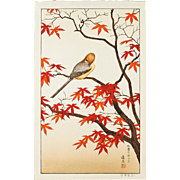 Toshi Yoshida - Bird in Autumn - Japanese Woodblock Print