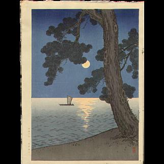 Arai Yoshimune - Pine Beach - Japanese Woodblock Print - Hasegawa Night Scene