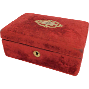 19th Century Antique French Velvet Sewing Box. Vintage Silk Cotton Box. Embroidery. Ribbon Box. Jewellery Box.