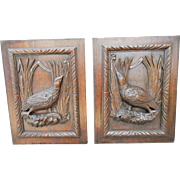 19th Century French Carved Wood Cabinet Panels. Bird Decoration.