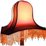 French Art Deco Silk Lampshade. Art Deco Lighting. 1930's. Beaded Lamp Shade.