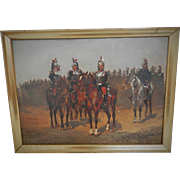19th Century French Cavalry Oil Painting. Militaria. Military. Napoleonic War Oil Painting.
