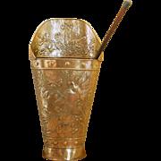 19th Century French Umbrella Stand. Antique Brass Parasol / Walking Stick Holder.