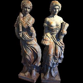 1800s Cast Iron Garden Maidens (pair)