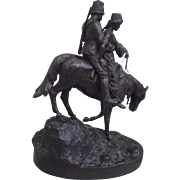 Moritz Wolff Antique Russian Bronze Sculpture of a Cossack Couple on Horseback