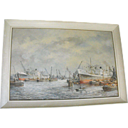 Pieter Van Schaik Jr. Dutch Rotterdam Port Scene w/ Ships Oil on Canvas Painting