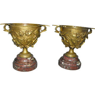 Pair of Antique Ormolu Bronze Neoclassical Style Chalice Cups