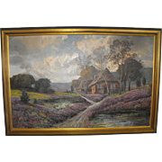 Karl Vikas (Austrian) Valley Landscape Oil on Canvas Painting