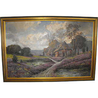 Karl Vikas (Austrian) Valley Landscape Oil on Canvas Painting