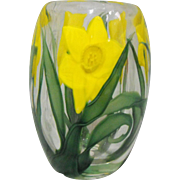 Steven Lundberg Studios Art Glass Daffodil Vase