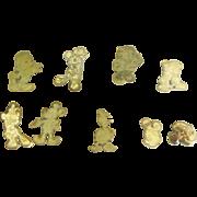Vintage Disney 14K Gold Plate over Sterling Silver / Vermeil Pins Lot