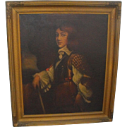 Antique Oil on Canvas Portrait Painting of Man/ Gentleman in Armor Armour 19th C