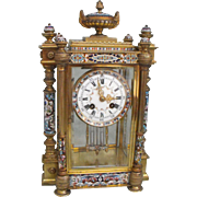 Antique French Champleve Enamel Mantle Clock
