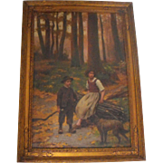 Louis Emile Adan The Woodcutter's Children French Antique Oil on Board Painting