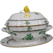 Herend Chinese Bouquet Porcelain Covered Lemon Tureen and Platter in Green