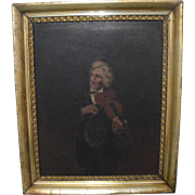 Antique 19th C. Oil on Canvas Painting Portrait of a Violinist