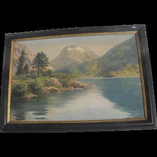 Friedrich Albin Koko-Mikoletsky (Austrian) Oil on Canvas Painting Mountain Lake Landscape