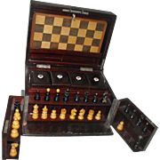 Antique Mahogany Travel Poker Chess Dominoes Game Box Set