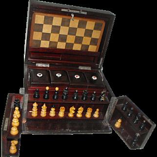 Antique Mahogany Travel Poker Chess Dominoes Game Box Set