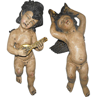 Pair of Italian Polychrome Carved Wood Putti