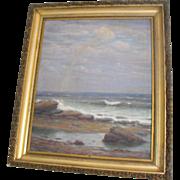 Charles A. Watson Antique 19th C Oil on Canvas Painting Coastal Rainbow Seascape