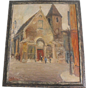 "Georges Bousquet (French) Oil on Canvas Painting ""The Church with a Red Door"""