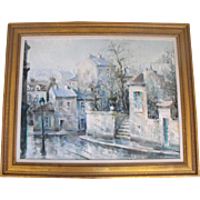 Lucien Delarue (French) Oil on Canvas Painting Paris Cityscape