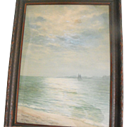 Emile Meyer Antique 19th C. Coastal Seascape w/ Ships Watercolor Painting