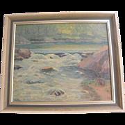 August H.O. Rolle (American)(1875-1941) Rock Creek Park Washington D.C. Landscape Oil on Canvas Painting