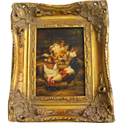 Antique 19th C. English Oil on Board Rooster Hen Chickens Painting
