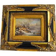 Antique 19th C. English Oil on Board Winter Landscape with Cottage Painting